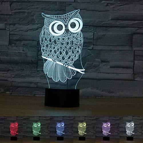 Coolzon Lampada 3D Illusione Luce Notte Bambini Ottica Toccare Il Controllo 7 Colori Selezionabil Gufo Lampade Notturna Abat Jour da Comodino Touch Regali Natale