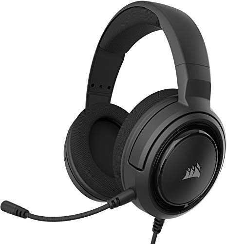 Corsair HS35 Stereo Cuffie Gaming con Microfono Unidirezionale Rimovibile, Altoparlanti in Neodimio da 50 mm, Compatibili con PC, Xbox One, PS4, Nintendo Switch e dispositivi Mobile, Carbonio