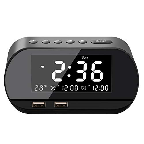 Cozime Sveglia digitale, Radiosveglie, Sveglia LED con funzione snooze, 5 sveglie e suoni FM, 5 luminosità variabile, Volume regolabile, Doppia uscita USB, Visualizzazione della temperatura, 12 / 24H