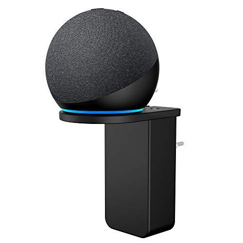 Cozycase Supporto per Dot 4 con orologio- Gestione dei cavi da incasso, Accessori per Dot 4 generazione in cucina, camera da letto, bagno (1-Pack, Nero)