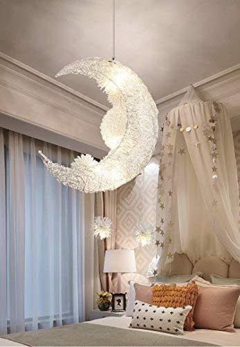 Creative Moon and Stars Fairy LED Lampada a sospensione Lampadario a soffitto Plafoniera per bambini Decorazione camera da letto (Warm Light)