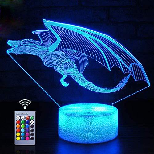 Creativo 3D Dinosauro Luce Della Notte LED Lampada 7/16 Cambiamento di Colore Lampada da Tavolo USB Alimentato Telecomando Giocattoli per Bambini Decor di Natale Regalo di Compleanno
