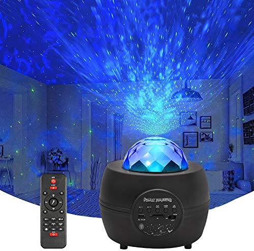 CreBeau - Proiettore LED a forma di cielo stellato, con telecomando e timer, altoparlante Bluetooth, Delicacy Rotante, luce notturna per adulti, camera da letto, festa di compleanno, matrimonio