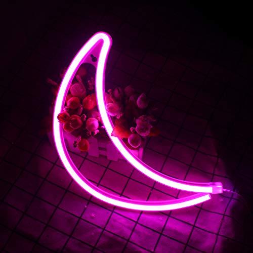 Crescent Neon Light Moon Insegne al neon a LED Art Wall Lighting Decor per bar casa ricreativo, festa di compleanno per bambini, soggiorno, festa di nozze (luna rosa) (rosa)