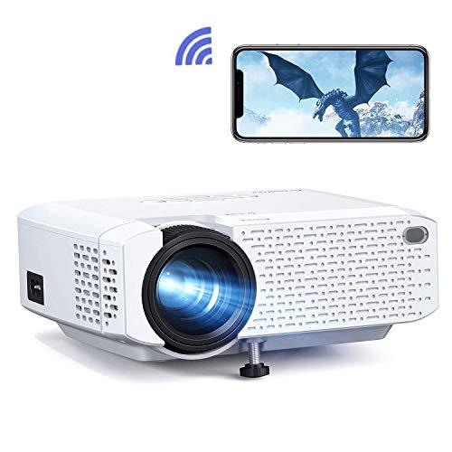 Crosstour Proiettore Wi-Fi, Mini Videoproiettore Portatile per Smartphone, Home Cinema Wireless con Telecomando, Supporta Full HD per iPhone/Android/iPad/USB/TV Stick(Cavo HDMI/AV Incluso)