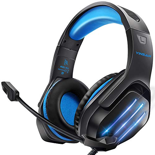 Cuffie da Gaming con Microfono, Cuffie Gaming PS4, Cuffie da Gioco con 3.5mm Jack LED, Controllo del Volume Regolabile, Gaming Headset per PS4 PC Xbox One Nintendo Switch Tablet Mac Smartphone
