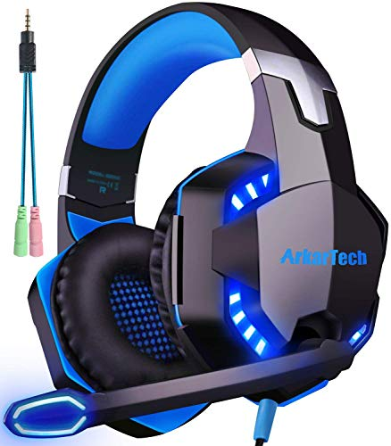 Cuffie da Gaming con Microfono per PS4 Xbox One Cuffie da Gioco con Cancellazione del Rumore, Stereo Bass Gaming Headset LED Luce Controllo Volume 3,5 mm per PC/ Laptop/ Smartphone/ Switch/ Tablet