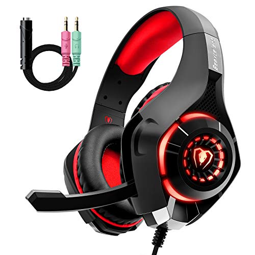 Cuffie Gaming con Microfono e Bass Stereo, Cancellazione del Rumore, Controllo del Volume per PS4 PS5 Xbox One PC Mac, Colore Rosso