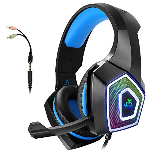 Cuffie Gaming con Microfono per PS4 PC Xbox One con LED, Stereo Bassi, Cancellazione del Rumore, Controllo del Volume, Cuffie da Gaming con 3.5 mm Jack per Playstation4 Switch Laptop Tablet Smartphone