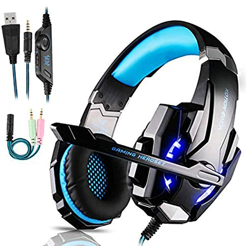 Cuffie Gaming per PS4 Cuffie da Gaming con microfono e Bass stereo Cuffie da Gioco con 3.5mm Jack LED e Controllo Volume Gaming Headset per PS4/Xbox One/Switch/PC/MAC/Laptop/Tablet (blu)