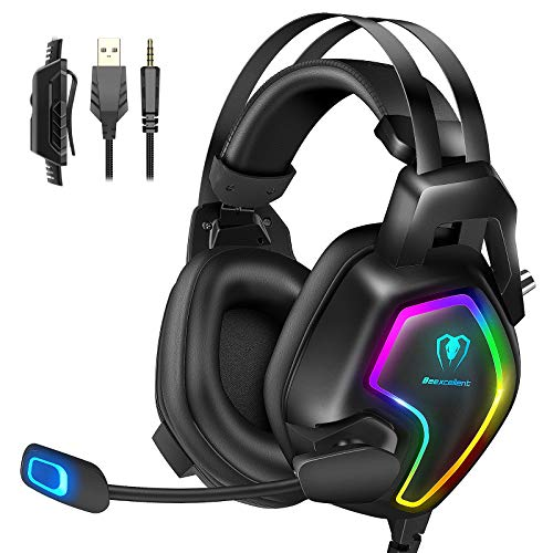Cuffie Gaming per PS4 PS5 Xbox One Stereo Audio Surround 3D Bass Cuffie con Microfono Cancellazione del Rumore, Controllo del Volume Luce RGB 3.5mm per PC Mac