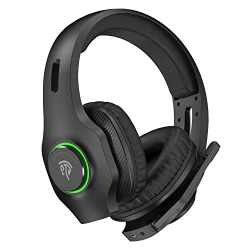 Cuffie Gaming Wireless per PC REDSTORM 2.4G Cuffie Gaming con Stereo, Microfono con Riduzione del Rumore, Controllo del Volume, Batteria Durevole, Illuminazione a Gradiente RGB per PC / PS4, VIP002W