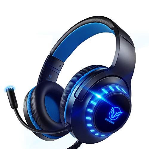 Cuffie per Giochi per PS4,PS5 Cuffie per Giocatori a LED con Microfono con cancellazione del Rumore per PC, Mac, Playstation 4, Xbox One (Nero Blu)