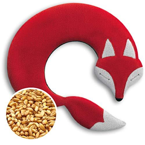 CUSCINO RISCALDABILE Leschi per la pancia e la schiena/Per collo, cervicale e coliche dei neonati/Per microonde, con semi di grano/Noah la volpe, rosso nero