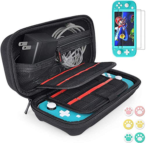 Custodia per Nintendo Switch Lite,Accessori per Nintendo Switch Lite, HD Vetro Temperato Protezioni Pellicola per Switch Lite(2-Pezzi), 6 Thumb Grips, Portatile Custodia Protettiva da Viaggio