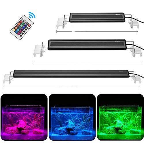 DADYPET Illuminazione per Acquario, Lampada LED per Acquario, Luce RGB Acquario, Lampada Impianto Acquario con Staffe Estendibili e Telecomando a Infrarossi (L) 60-80 cm