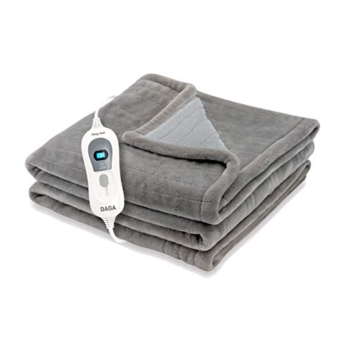 Daga Flexy Heat Softy Fleece Coperta Elettrica, 120W Grigio (150 x 100 cm), 150cm X 100cm