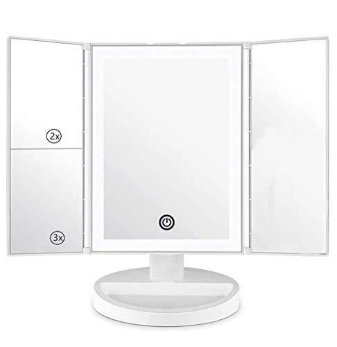 DAHOMI Specchio Trucco con Luci,Specchio per Trucco LED con 36 Illuminato Luci Ingranditore 3X 2X 1x,Supporto Regolabile a 180 Gradi per Specchio cosmetico per Il Trucco (Blanco)