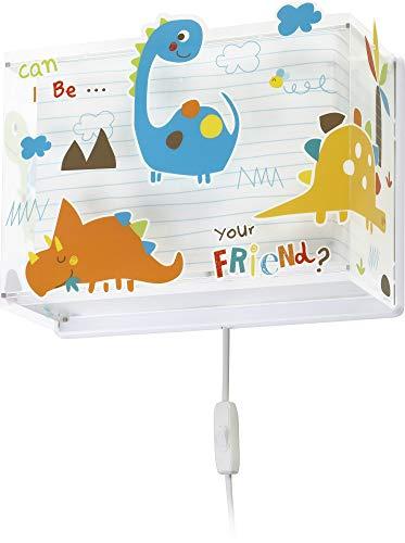Dalber - Lampada da parete E-27, Dinosauri, Multicolore, 31 x 13 x 23.5