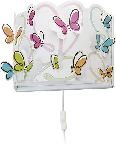 Dalber - Lampada da parete E-27, Farfalla, Multicolore, 31 x 14.5 x 23.5