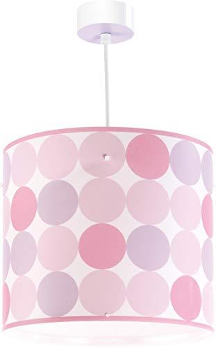 Dalber - Lampada da soffitto, a sospensione rotonda, colore: rosa, led, plastica
