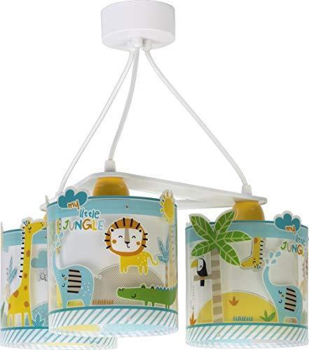 Dalber - Lampada da soffitto E-27, Giungla, Multicolore, 39 x 39 x 20