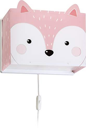 Dalber Little Fox - Lampada da parete per bambini, con volpe, 60 W, colore: rosa