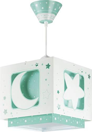 Dalber Luna Lampada a sospensione con motivo stelle, Verde, led no incluida, plastica