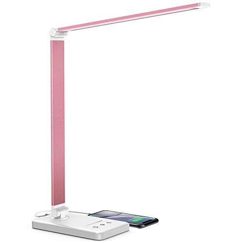 Daover Lampada da Scrivania LED, Lampada da Tavolo, 5 Modalità Colore, 10 Luminosità Dimmerabili, Funzione di Cronometraggio, Tocco-Controllo, Ricarica USB per Smartphone-Rosa