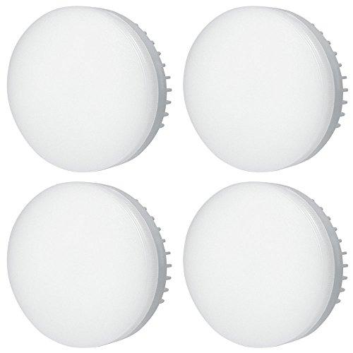 DASKOO - Confezione da 4 lampadine LED GX53 5 W = 40 W in alluminio + PC bianco freddo AC 85-265 V