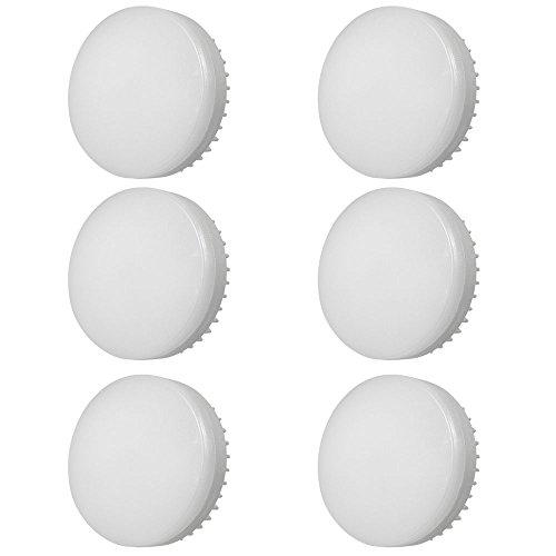 DASKOO - Confezione da 6 lampadine LED GX53 12 W = 95 W in alluminio + PC bianco freddo 1200 lm AC 85-265 V