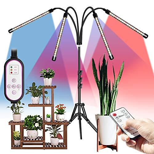 DCUKPST Lampada per Piantecon Treppiede, 4 Teste 80 LED Lampada da Coltivazione Spettro Completo Regolabile 50-160 cm con Timer Automatico 4H/8H/12H, 3 Modo e Collo di Cigno Regolabile