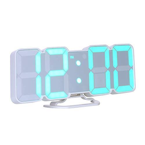 Decdeal Orologio da Parete Digitale,Sveglia da Comodino,3D Sveglia LED con Telecomando USB Tempo/Temperatura/Display Dati 115-Colore Modifica Luminosità a 3 Livelli Controllo - Nero