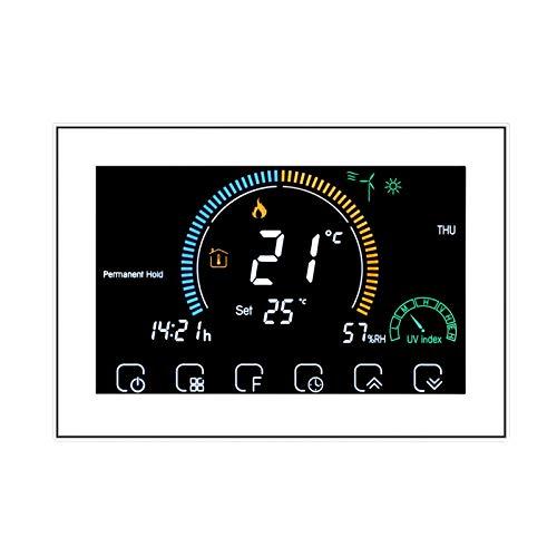 Decdeal Termostato Wifi 16A per Riscaldamento Elettrico GB- Programmabile/Controllo APP Vocale/LCD Retroilluminato Visualizzazione dell'umidità e UV,Compatibile con Alexa Google Home,95-240V,BHT-8000