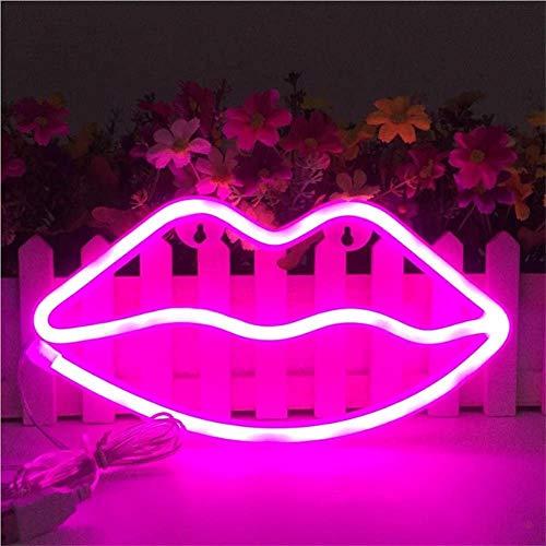 Decorazioni a parete a forma di labbra con luci al neon e luci decorative per bambini. Decorazioni per feste natalizie