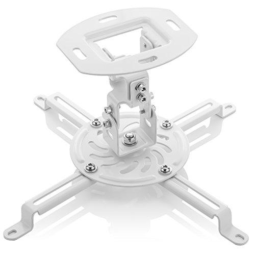 deleyCON Supporto da Soffitto Universale per Proiettore Inclinabile +-15° - Ruotabile di 360° - Portata max. 13,5kg - Gestione Cavi Integrata - Bianco
