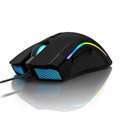 Delux Mouse Gaming, mouse da gioco 16,8 milioni di colori RGB, 24000 DPI(max), ergonomico, programmabile, per PC e laptop, 7 pulsanti