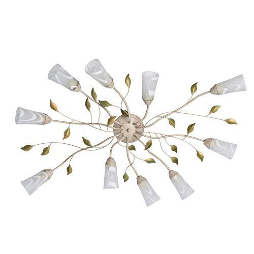 DeMarkt 242015510 Plafoniera Lampada da Soffitto Floreale Beige Chiaro Oro Verde Metallo Vetro Bianco 10 luci x 60W E14