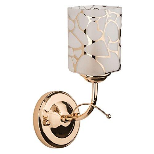 DeMarkt 638020301 Applique da Parete Moderna Metallo Colore Oro Lucido Paralume Bianco Vetro 1 luce x 60W E14