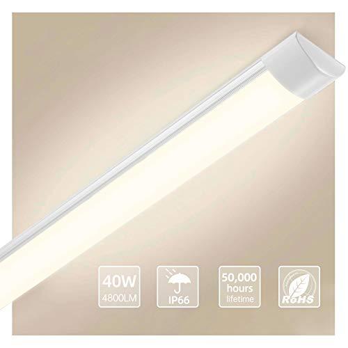 Depmog 120CM Plafoniera LED 4800 Lm LED plafoniere 220v impermeabili Tubo Neon Led Cucina Garage Officina Ufficio Bagno Seminterrato Giardino Magazzino Bianco caldo