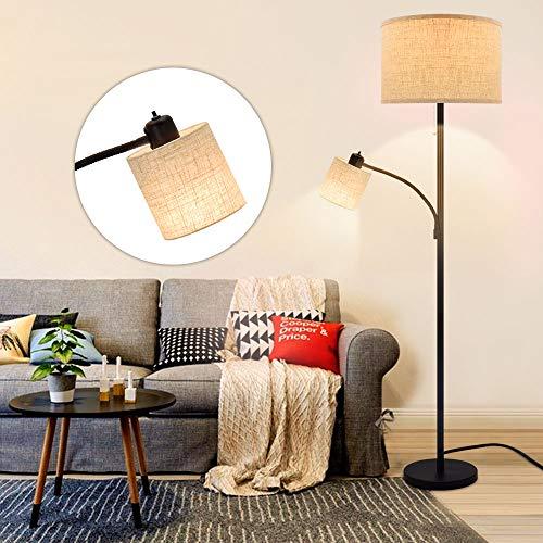 Depuley E27 - Lampadario per camera da letto, paralume con lettura, lampada da terra moderna in metallo nero, design classico per camera da letto, altezza 176 cm, lampadine 9 W + 5 W incluse