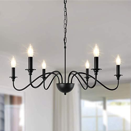 Depuley - Lampadario classico a 6 luci, 6 lampadine E14, in metallo, stile europeo, colore nero