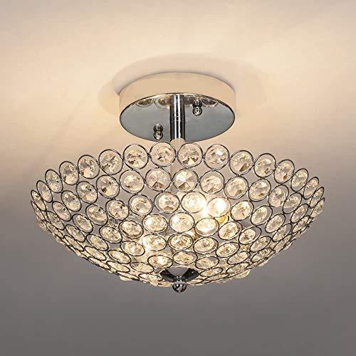 Depuley - Lampadario moderno in cristallo, per camera E14, trasparente e argento, Ø 30 cm, applicabile per corridoio, ingresso, soggiorno, scale, cucina, lampadine non incluse