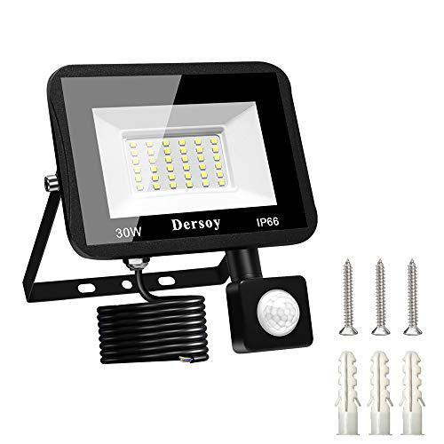 Dersoy 30W Faretto LED per Esterno con Sensore di Movimento, Faretto LED Impermeabile IP66 Bianco Freddo 6500K Llluminazione per Esterni per Patio, Magazzino, Via, Giardino