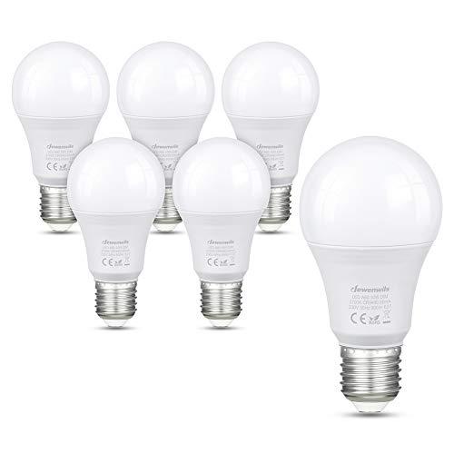 DEWENWILS - Lampadina LED E27, dimmerabile, A60, luce bianca calda, 2700 K, 10 W, 800 lumen, vite Edison, ricambio per lampadina a incandescenza da 60 W, confezione da 6, certificazione CE e RoHS