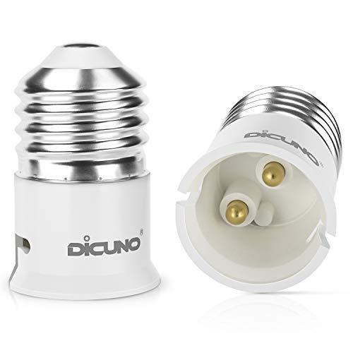 DiCUNO 2-Pack E27 a B22 Socket Converter Socket Adapter Adattatore di base per lampada di alta qualità per lampadine a LED e lampadine a incandescenza e lampadine CFL
