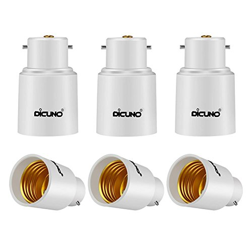 DiCUNO 6-Pack B22 a E27 Socket Converter Socket Adapter Adattatore di base per lampada di alta qualità per lampadine a LED e lampadine a incandescenza e lampadine CFL