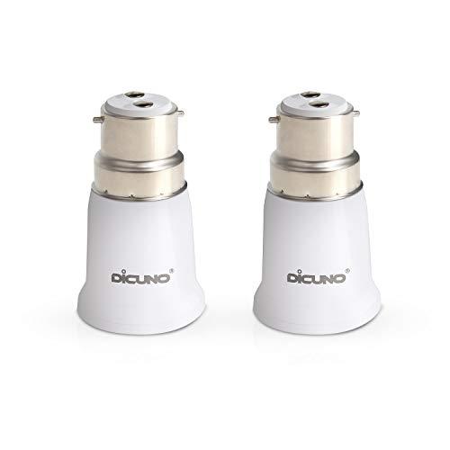 DiCUNO B22 a E27 Adattatore socket, Convertitore lampadine, Max Wattage 200W, 0~250V, Resistente al calore da 165 gradi, confezione da 2