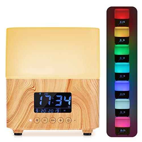Diffusore di Aromi, Umidificatore 300 ml, Macchina per aromaterapia Venatura del legno con 7 luci a LED colorate e orologio digitale La forte trasformazione di potenza rende bene la nebbia