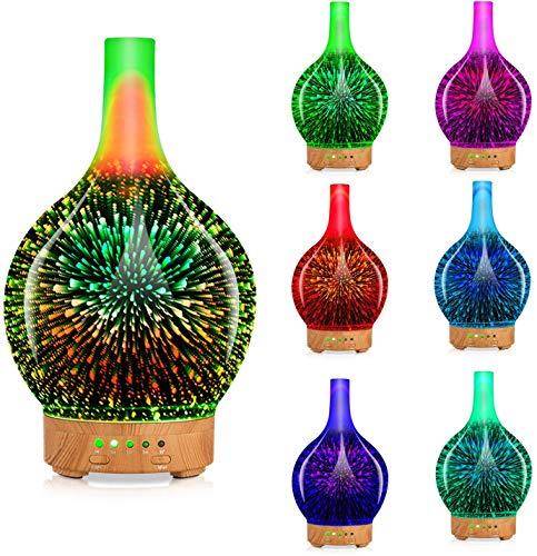 Diffusore Olio Essenziale Per Aromaterapia, Diffusore di Aromi a Ultrasuoni , Umidificatore Silenzioso con Impostazione de Tempo e 7 Colori a LED Cangianti per Casa e Ufficio 100 ml